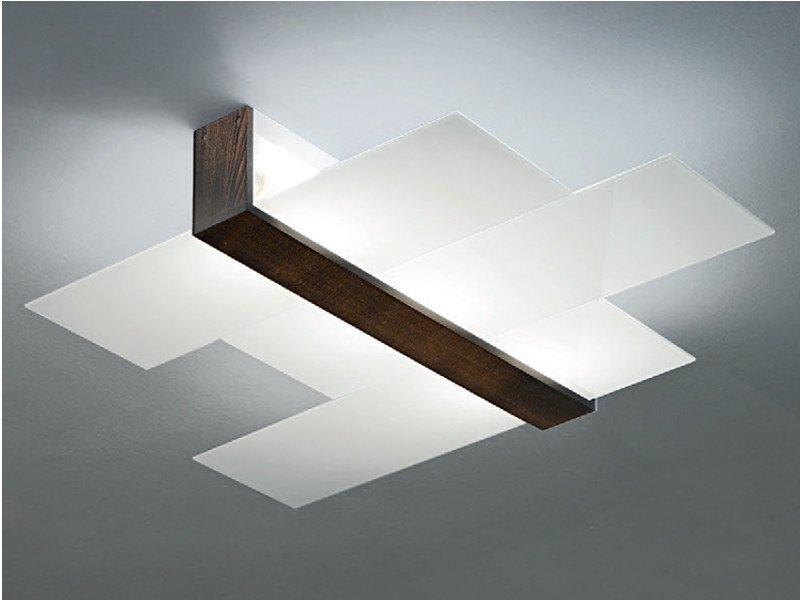 Plafoniere Con Base In Legno : Linea light group triad plafoniera noce