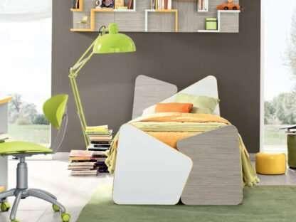letto twist bianco e legno