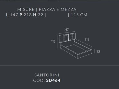 letto contenitore santorini piazza e mezza contenitore tortora