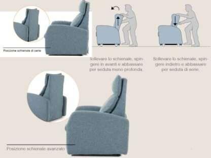 posizione schienale regolabile poltrona magic