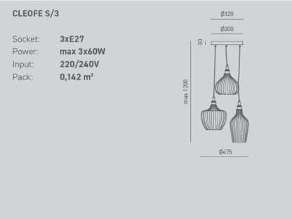 scheda tecnica sospesnione cleofe tre luci