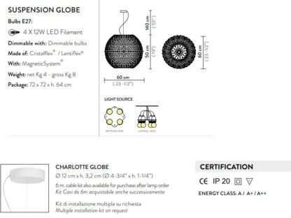 scheda tecnica sospensione charlotte globe