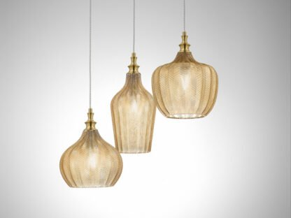 sospensione cleofe tre luci ambra trasparente
