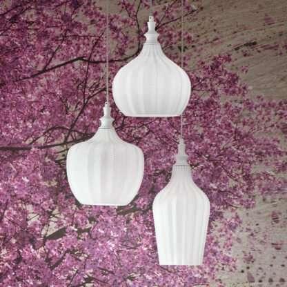 sospensione cleofe tre luci bianca sfondo fiori